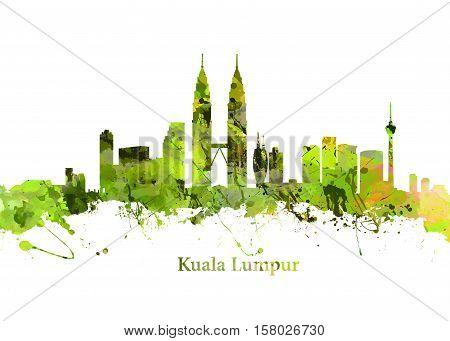 Watercolor art print of the Skyline of Kuala Lumpur Malaysia