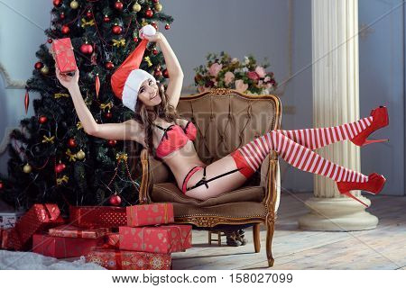 Beautiful brunette sexy Santa Clause in elegant panties hat and bra. Fashion portrait of model girl indoors with Christmas tree. Cute woman in lace red lingerie. Female ass in underwear. Naked body