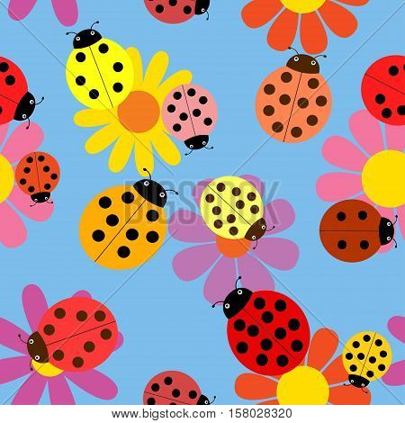 Seamless vector illustration of ladybugs and flowers.