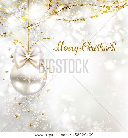 Christmas evening balls with white bow and golden garlands. Merry Christmas gold lettering on the shine glimmered background.