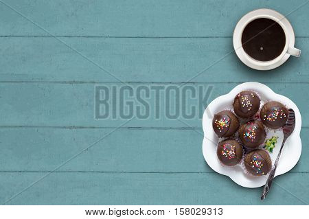 Sweet Chocolate Cake Pop With Coffee Cup.