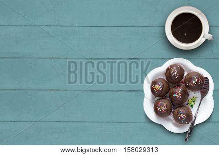 Sweet Chocolate Cake Pop With Coffee Cup.