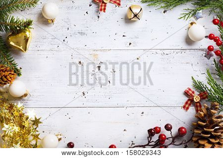 Christmas holidays background with Christmas holidays ornament on white background; Top view flat lay with copy space for your text