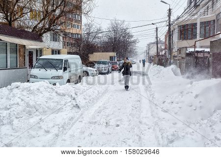Snow Storm Hits City. Street After Blizzard