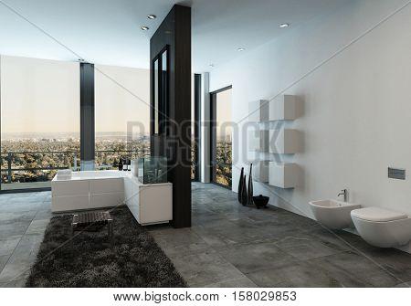 Luxury bathroom with closed toilet, deluxe bathtub and sink in condominium. 3d Rendering.