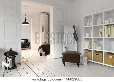 3D rendering of apartment living room with bookshelf, floor mirror in minimalist modern Scandinavian interior design