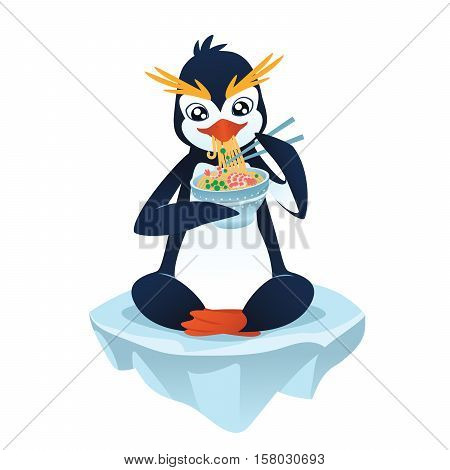Cute cartoon penguin with a noodle dish eating and sitting on an ice floe. Vector illustration of cute penguin with noodle dish in flat cartoon style on a white background.