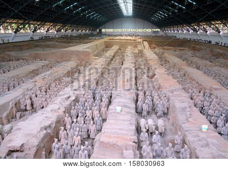 XIAN - MAY 11: exhibition of the famous Chinese Terracotta Army (Terracotta Warriors) on MAY 11 2016 in Xian of Shaanxi Province China. The Terracotta Army (Terracotta Warriors) are made in 210-209 BCE to protect the the Qin Shi Huang's emperor in his aft