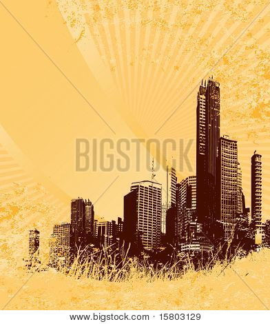 Silhouette of brown city on yellow grunge background. Vector art.