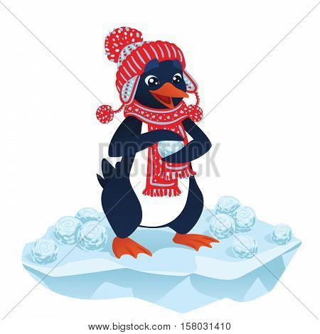 Cute cartoon penguin in funny hat and scarf making snowballs on an ice floe. Vector illustration of cute penguin with snowballs in flat cartoon style isolated on a white background for your design.