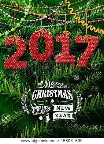 New Year 2017 in shape of knitted fabric against pine branches. Christmas wishes with decoration. Vector illustration for new years day christmas winter holiday new years eve silvester etc