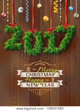 New Year 2017 of twigs like christmas decoration. Christmas congratulation against wood background. Vector illustration for new years day christmas winter holiday new years eve silvester etc
