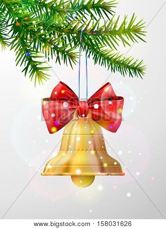 Christmas tree branch with golden jingle bell. Christmas bell with red bow hanging on pine twig. Vector image for christmas new years day decoration winter holiday design new years eve etc
