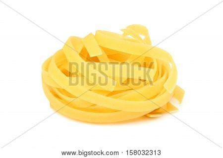 Twisted pasta isolated on a white background.