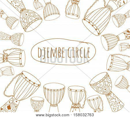 African drums ornament. Sketchy flyer design decorated with ethnic instruments doodles. For percussion school or jam. Text