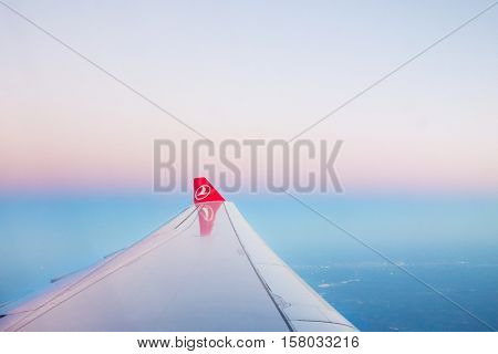Istanbul, Turkey; OCTOBER 31, 2015: Turkish Airlines Airplane Wing  at the sky