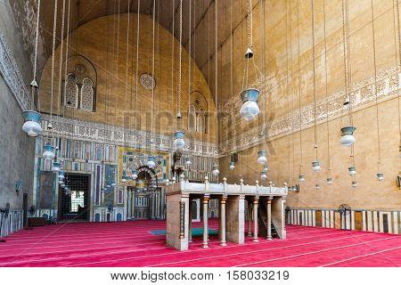 CAIRO, EGYPT - 18 OCTOBER 2015 :Mosque-Madrassa of Sultan Hassan, a Mamluk era mosque and madrassa found in 757 AH/1356 CE