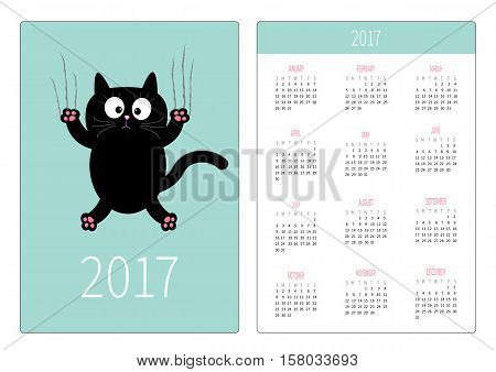 Pocket calendar 2017 year. Week starts Sunday. Flat design Vertical orientation Template. Cartoon black cat claw scratch glass. Cute character. Blue sky background. Isolated. Vector illustration