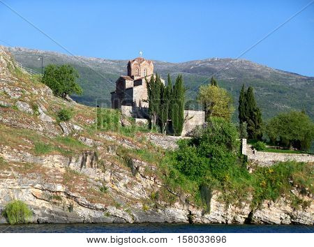 Stunning view of St. John at Kaneo's Church on the cliff, seen from Lake Ohrid, Republic of Macedonia