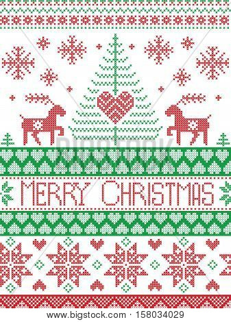 Merry Christmas Tall Scandinavian Printed Textile style and inspired by Norwegian Christmas and festive winter seamless pattern in cross stitch with reindeer, Xmas tree,  ,heart in red , green, white poster