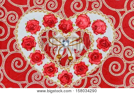 Valentine Heart Art Design. Paper Valentines Heart with Red Rose Flowers Bouquet. Postcard or Invitation Card Design. Heart Shape Hole through Paper with Roses inside