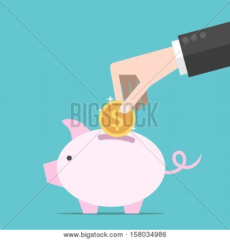 Hand, Coin, Piggy Bank