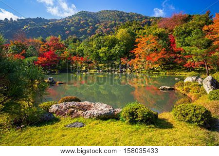 Autumn at zen garden of the tenryu-ji temple in Arashiyama, Japan.
