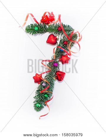Happy New year number 7 are written, consisting of Christmas decorations, balls, branches Christmas trees