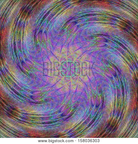 Abstract computer generated spiral fractal background - vector design