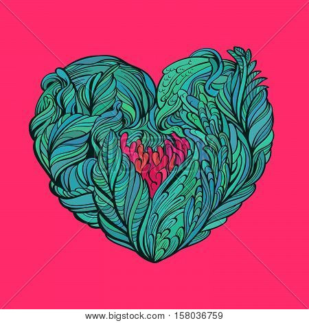 Vector Illustration flora heart doodles abstract with isolated background.