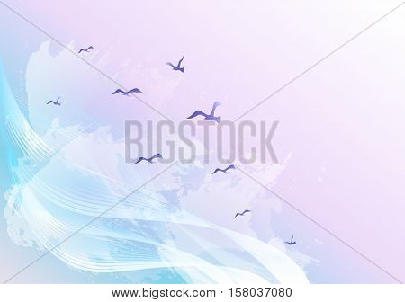 Light and bright abstract sky background with birds flying in the clouds, waves and water spots.