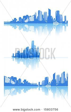 Panorama of city with reflection. Vector art.