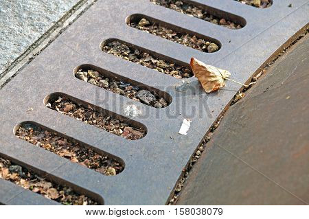 Manhole Cover Metal, Rustic Square  Drain  In The Street, Steel Grill Sewer  Or  .