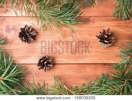 Lying on wooden background with spruce twigs and cones. There is a place for text