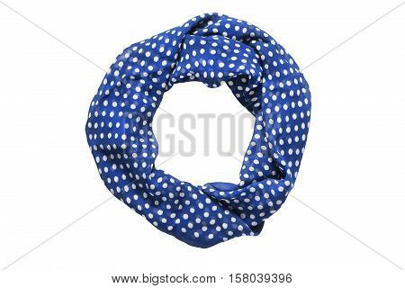 Blue neckerchief with polka dots tied on white background