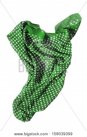 Crumpled green silk kerchief isolated over white