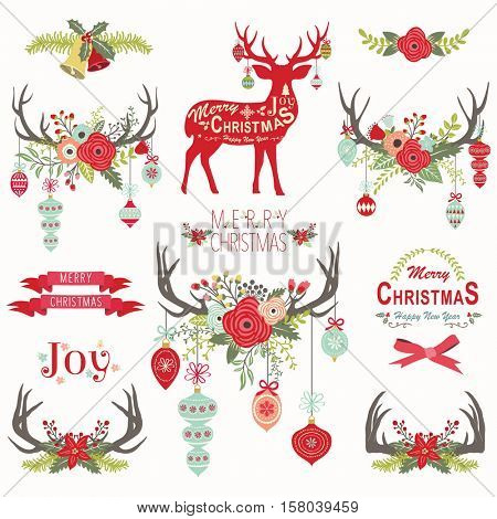 Christmas Floral Antlers Elements