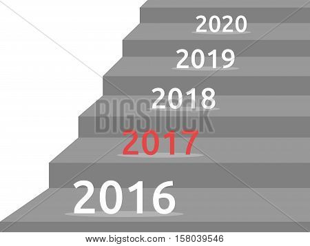 Stair with change years 2016 on 2017 isolated on white background. New year happy and christmas concept. Flat design. Vector illustration. EPS 8 no transparency