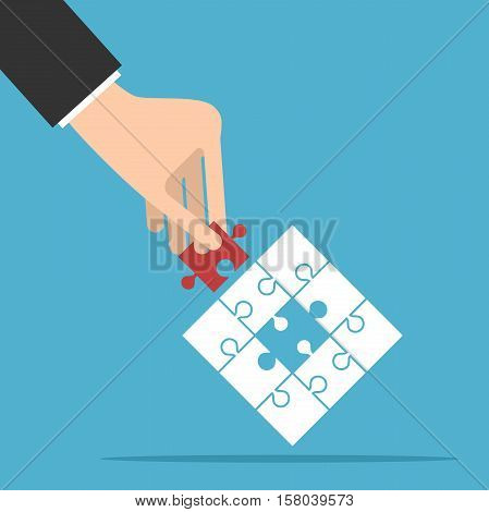Puzzle with assembled white and missing red piece in hand on blue background. Teamwork partnership and solution concept. Flat design. Vector illustration. EPS 8 no transparency