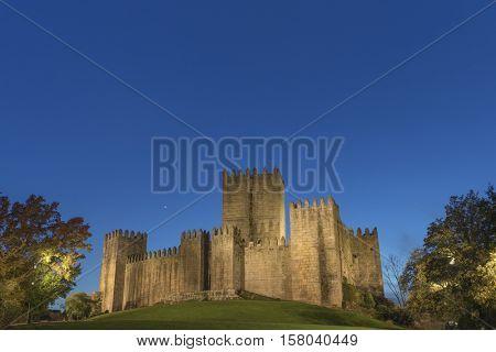 Guimaraes castle at sunset - Portugal