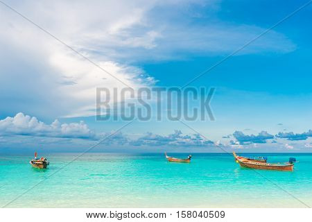 Boat With Sea And Sky Background Vacation Time