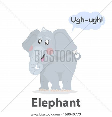 Elephant vector illustration.Cute cartoon elephant with speech bubble.From the series what the say animals.Zoo animal jungle.Mammal animal with a long trunk