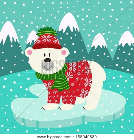 polar bear in  knitted sweater and cap on ice floe- vector illustration, eps
