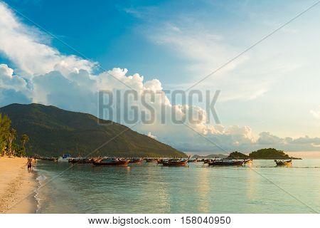 Beautiful Sunrise Above The Andaman Sea With Boat.
