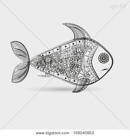 Fish pattern graphics Drawing abstract author design pattern under water tattoo decoration on body painted leather logo sign store interweaving eye point line fin shadow eps10 vector illustration Stock
