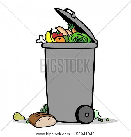 Full bin with bio waste and groceries leftovers