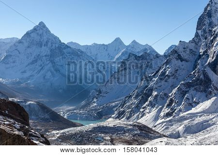 Mountain Ama Dablam Summit On The Everest Base Camp Trek In Himalayas, Nepal. Beautiful Highlands Sc