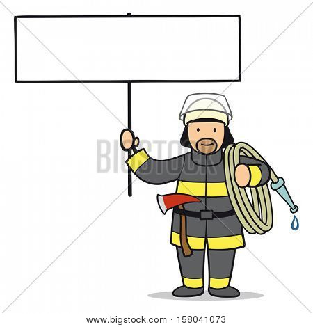 Cartoon man as firefighter holding empty blank sign