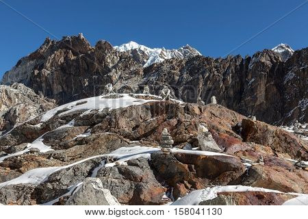 Mountain Cairns On Everest Base Camp Route In Himalayas, Nepal. Beautiful Landscape With Cairn Marki