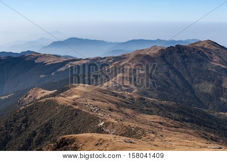 Morning Mountains Misty Landscape With Dark Green Forest And Brown Dry Grass On Slopes. Dramatic Hil